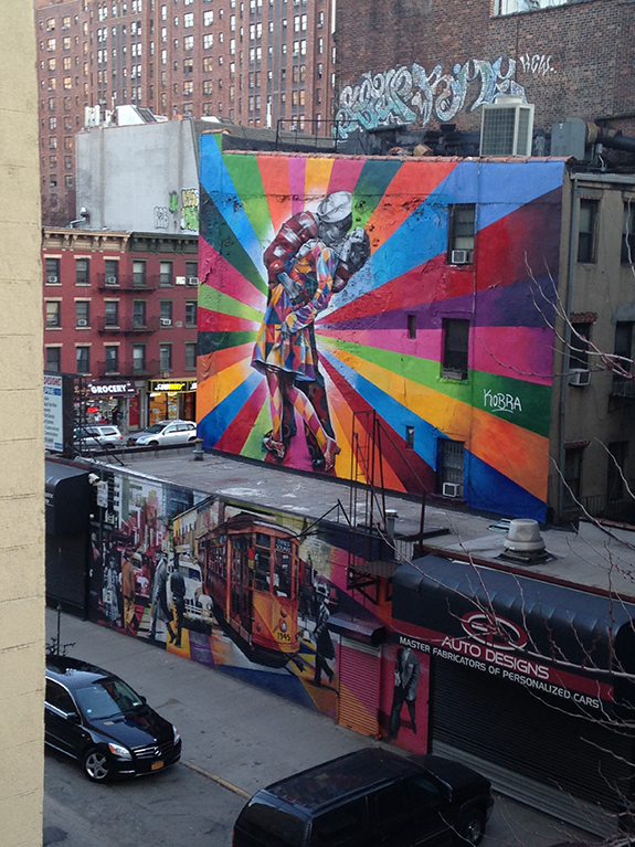 Eduardo Kobra's Mural at 25th St and 10th Avenue. View from the High Line, 2014.